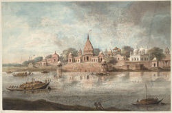 The Brahmavarta ghat with attached temple, and other buildings including a mosque, at Bithur